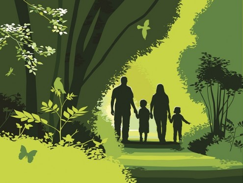Digital art of a family walking through the woods
