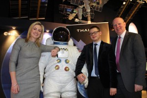 (L-R) Sinead O'Sullivan (former NASA research scientist and SRC student, CEO at Fusion Space Technologies), Maciej Mareh Zych from Newry (United Space School Competition Award Winner) and Brian Doran (Chief Executive, Southern Regional College)