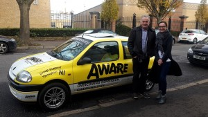 Aware Siobhan AWARE CEO with Jarlath McCreanor and the AWARE Car