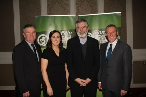 Gerry Adams Sinn Féin President pictured with Cathal Boylan, Conor Murphy and Megan Fearon at the official launch of their AssemblybElection 2017 Campaigns