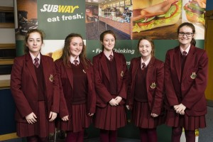 (L-R) Third place in SUBWAY® brand's Design A Sub Challenge 2016 from St Mary's High School: Hannah Kelly, Caitlin McCann, Blaithin Rogers, Molly O'Reilly and Niamh McAlinden