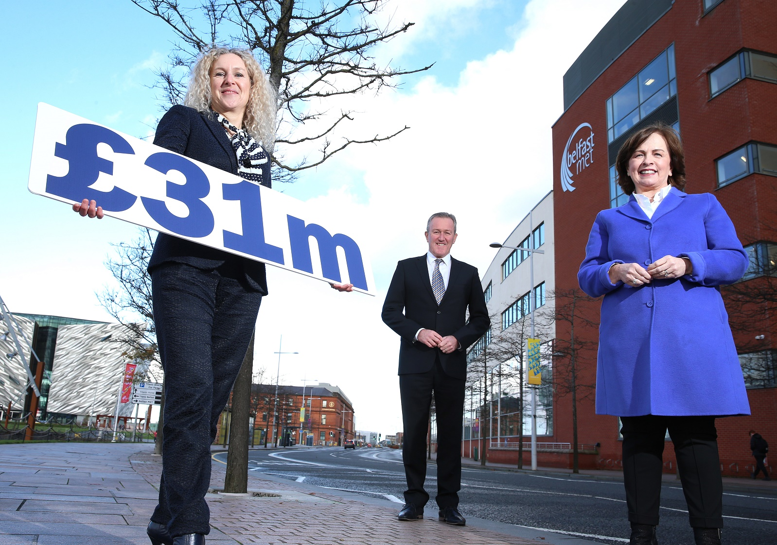 Louise Ward Hunter Belfast Met - Conor Murphy Finance Minister - Diane Dodds Economy Minister at Belfast Met ref Energy savings 1 - Newry Times News