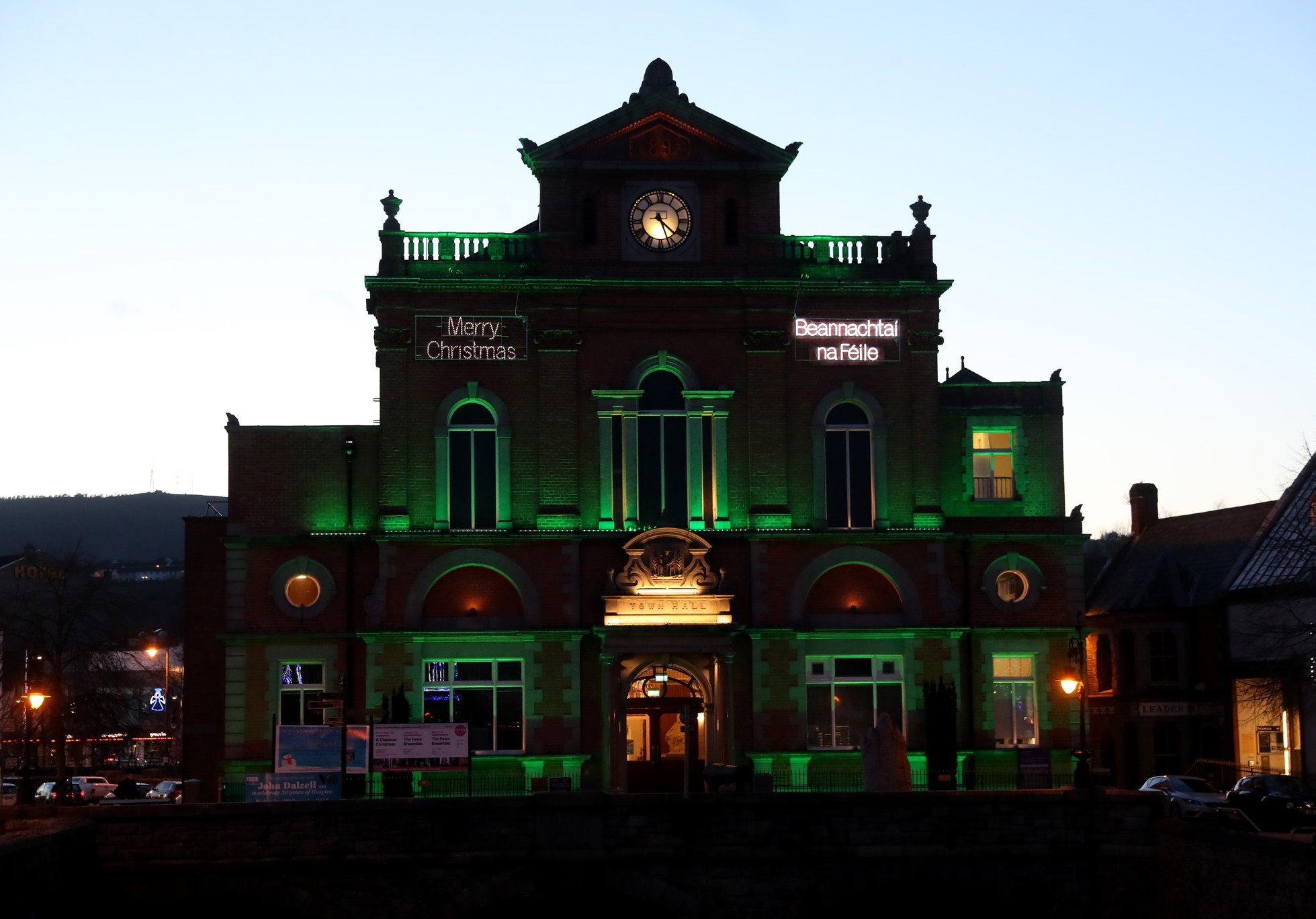 Newry Town Hall illuminated green in support of NSPCC NI back in 2019 - Newry what's on